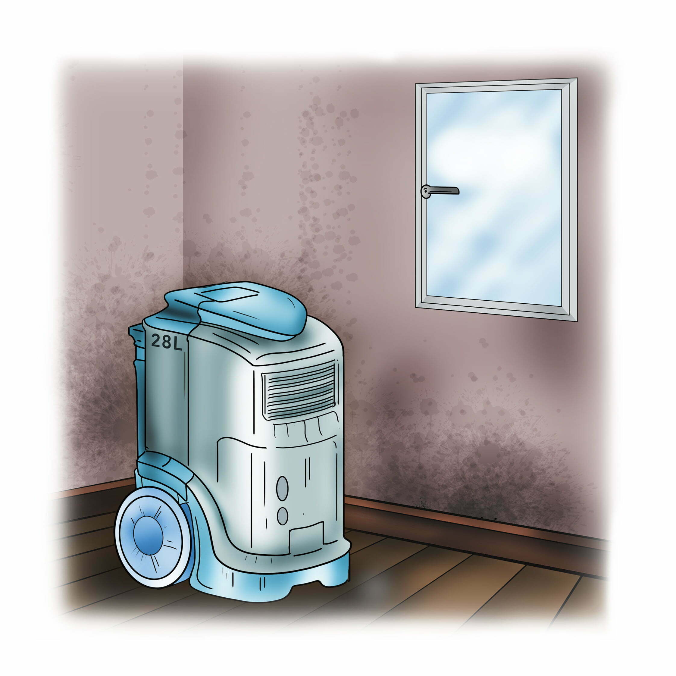 Buy a dehumidifier for large damp patches