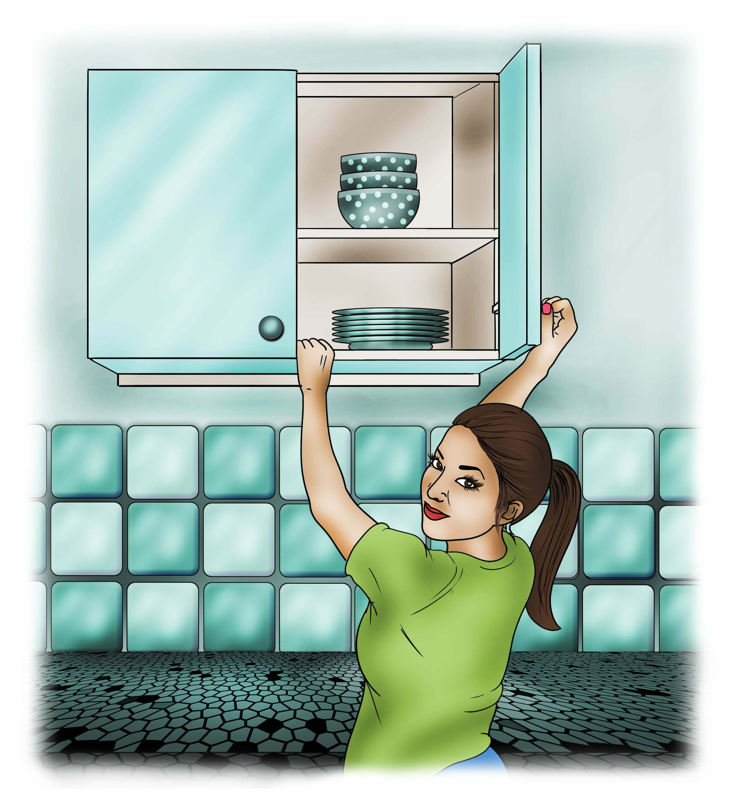 Open any wall mounted cupboards