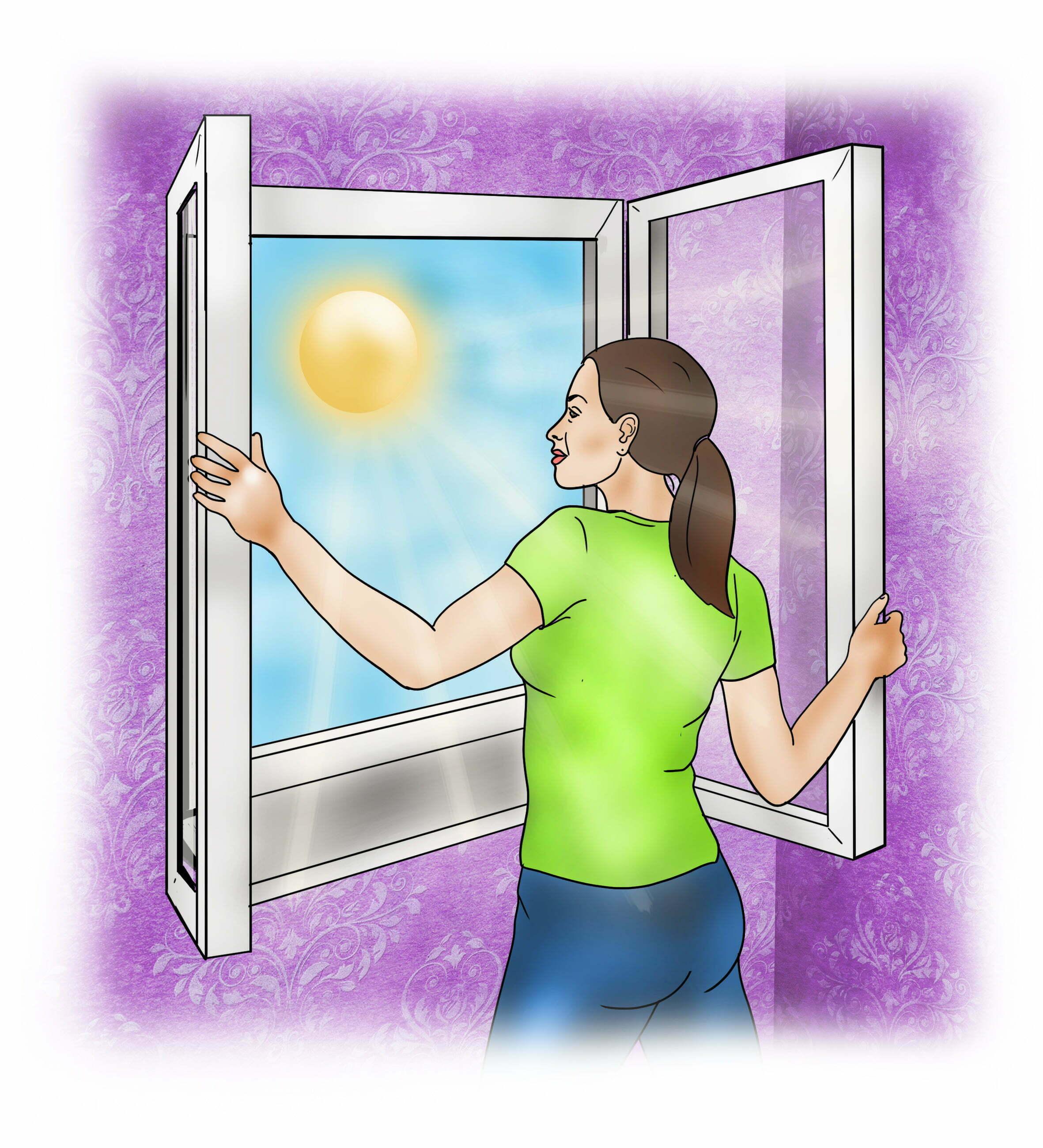 Open windows to increase air circulation