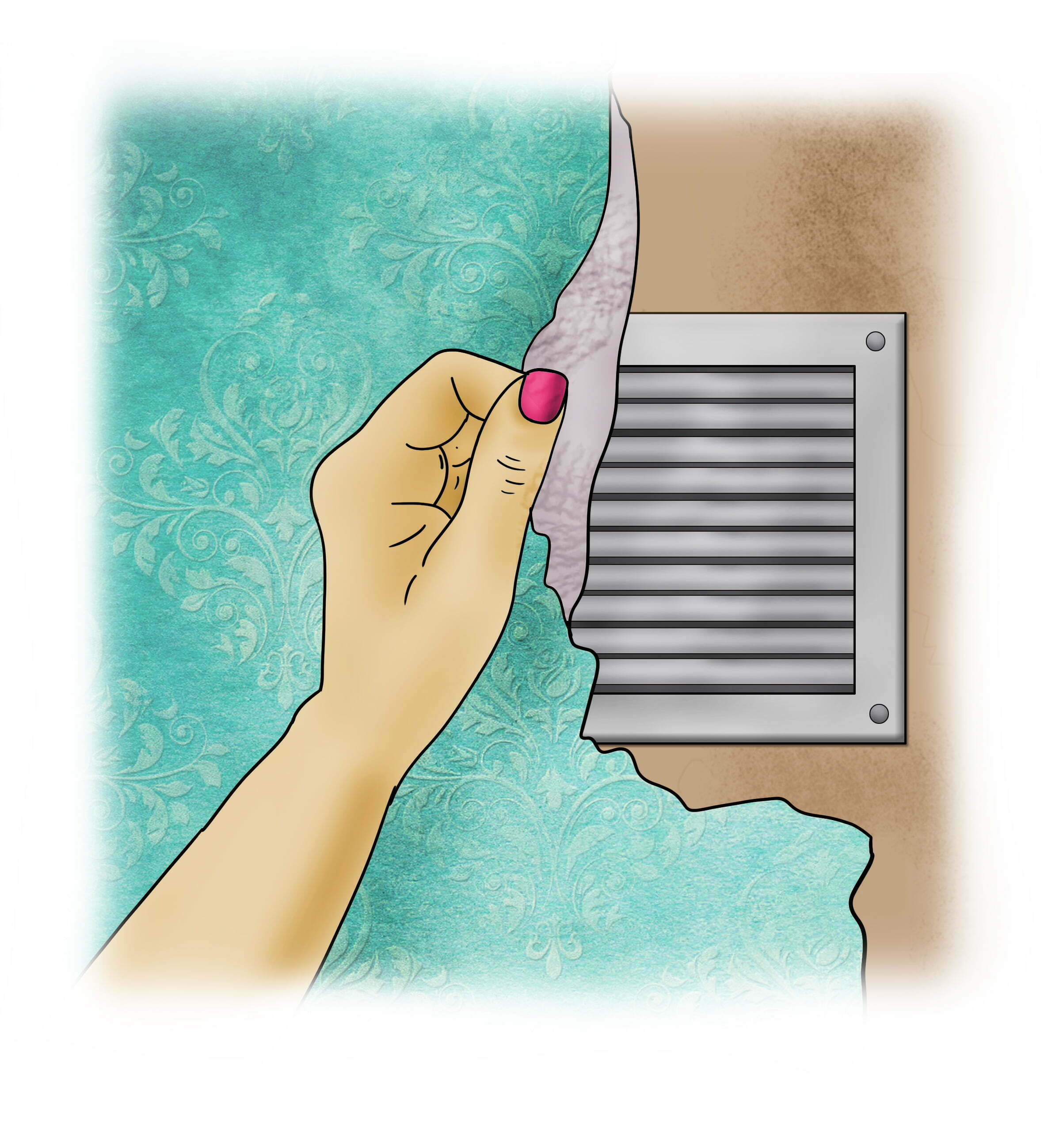 Remove coverings on any wall ventilation