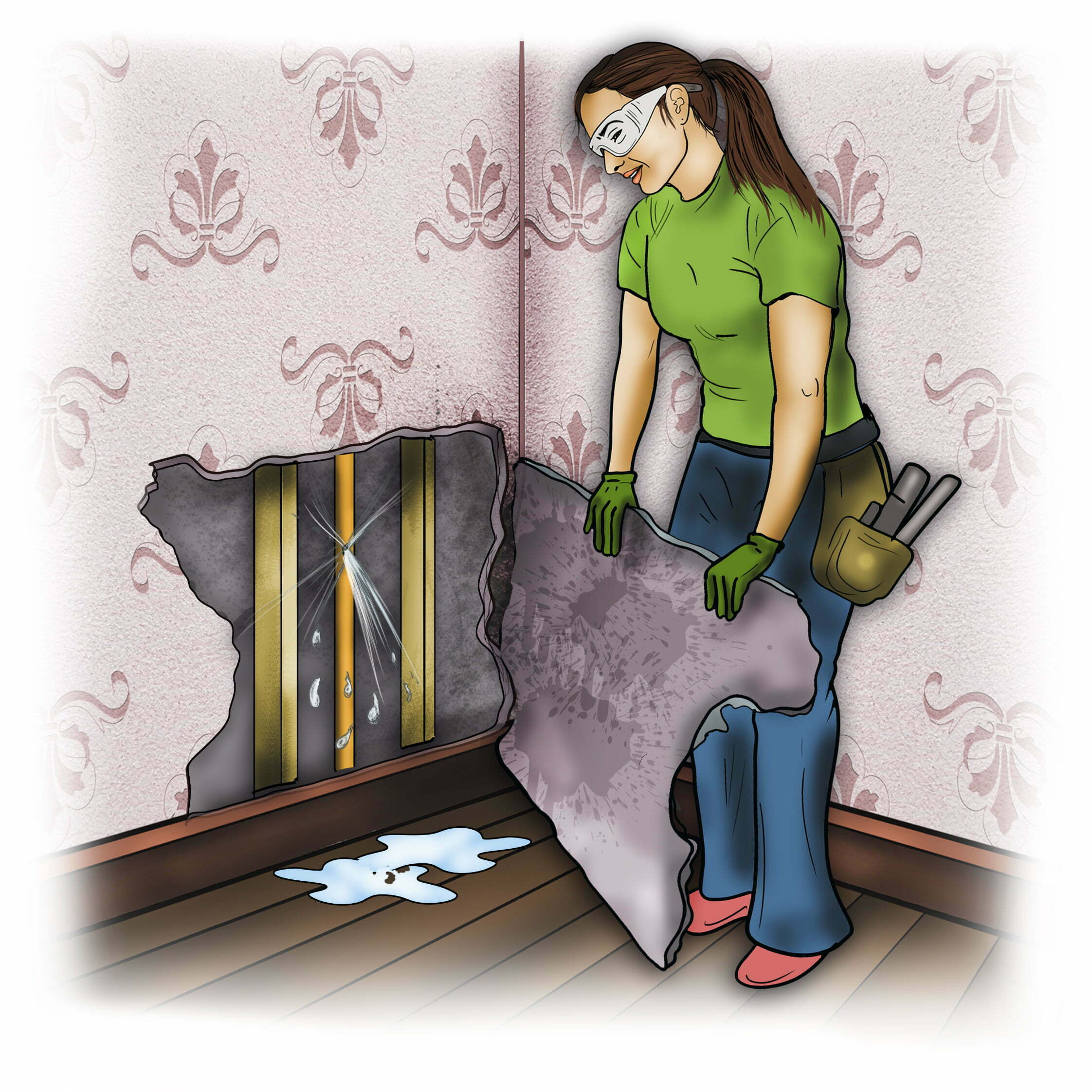 Remove damaged areas of a wall so there are no long-term issues
