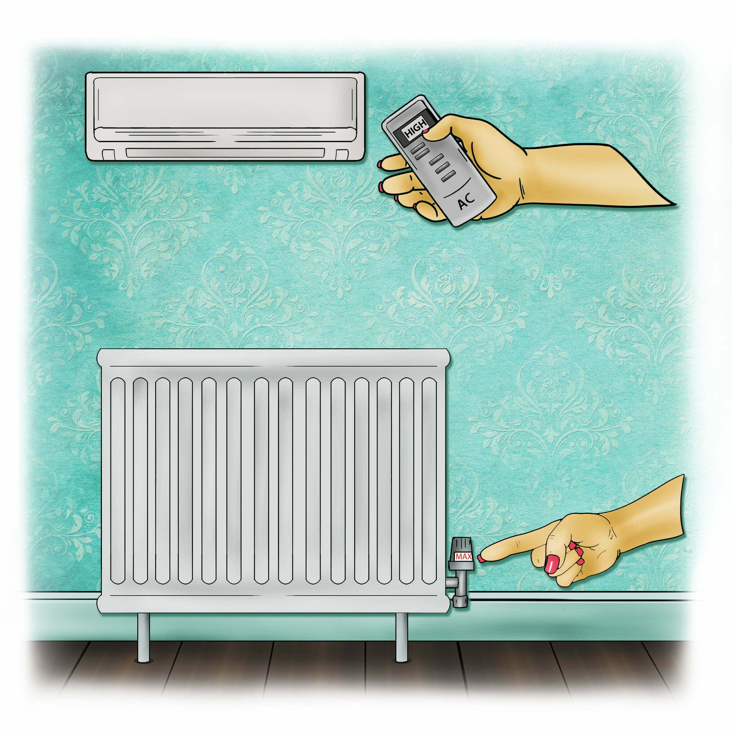 Turn up the heating and any air con unit you might have